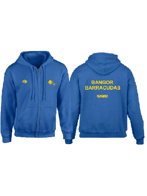 Bangor Barracudas - Hoodie zip Light Blue