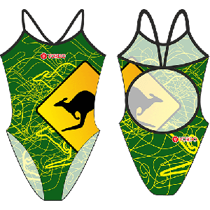 Kangaroo Green - Single Strap Swimming Costume