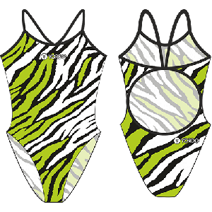 Tiger /green-white/ - Single Strap Swimming Costume