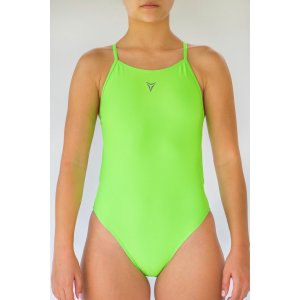 Splatter cmyk-black-neon - Single Strap Swimming Costume